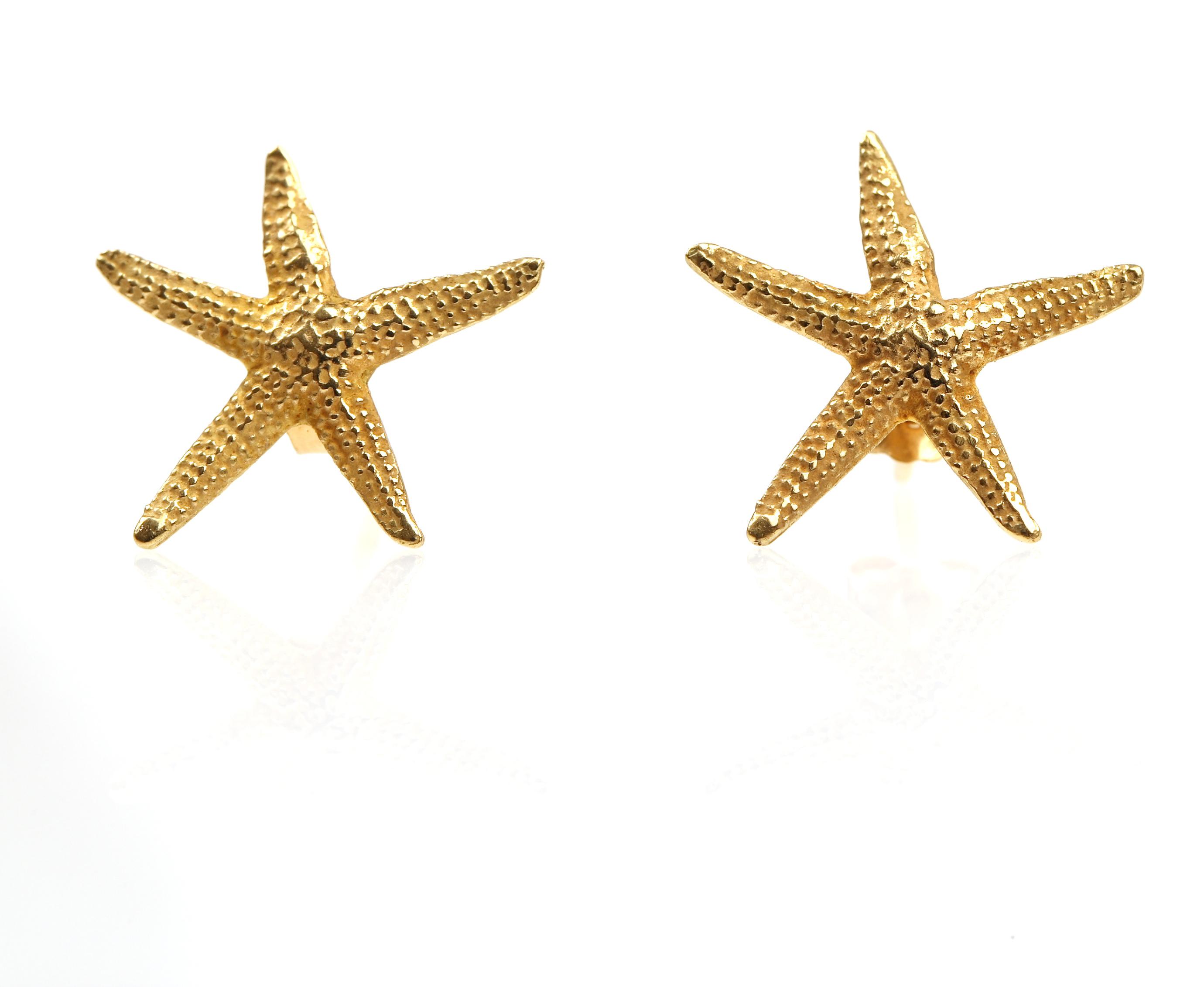 624a70c30658 SB18 Pendientes de oro de primera ley estrellas de mar
