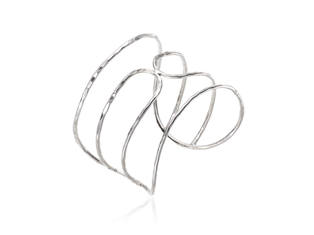 Brazalete doble clip en plata de lado