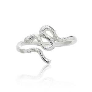 Serpiente anillo pequeño plata frente